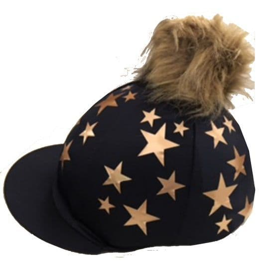 GGGear Cross Country Colours Hat Silk,Cornflower Blue//Gold with Faux Fur Pom pom